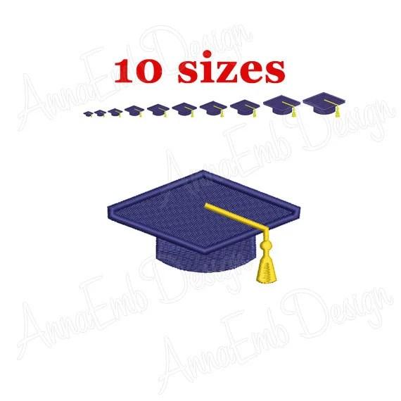 graduation hat embroidery design