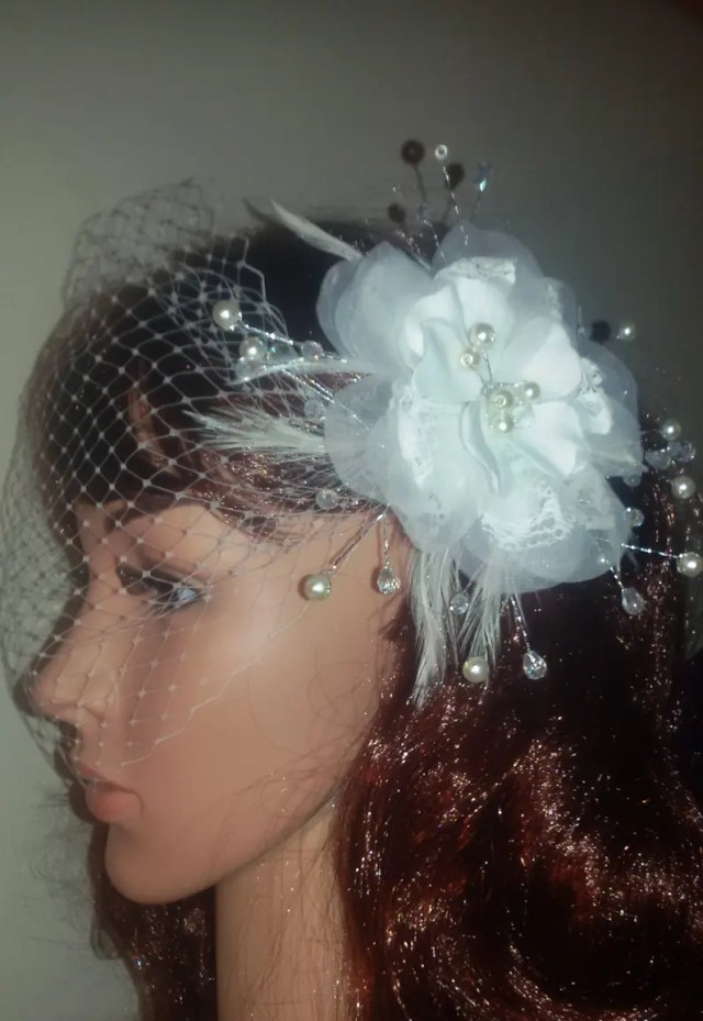 """ivory birdcage bandeau wedding veil. organza flower with pearls, crystals and feathers clip. 9"""" french net veiling. free uk postage"""