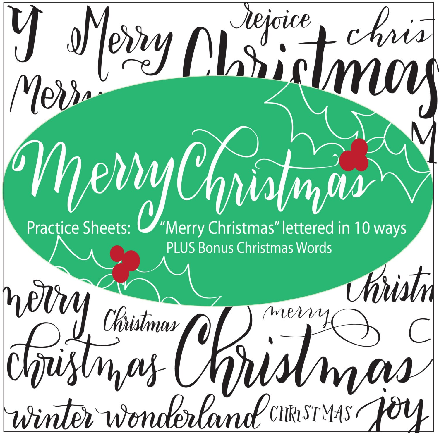 Merry Christmas Brush Lettering Practice Sheets For Small