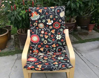 poang chair covers etsy wrought iron lounge parts cover best seller ikea cushion dark floral v2