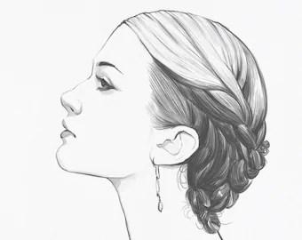pencil drawings illustrations etsy