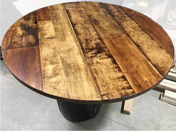 1 round table top maple plank table top rustic wood table top round rustic table top unfinished table top wine barrel top