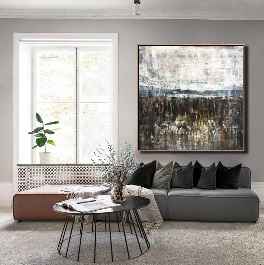 living room picture wall rooms with dark brown leather furniture art etsy large canvas oversize painting white gray abstract on