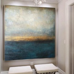 Large Canvas Art For Living Room Farmhouse Paint Colors Blue Painting Abstract Sea Marine Acrylic Etsy Image 0