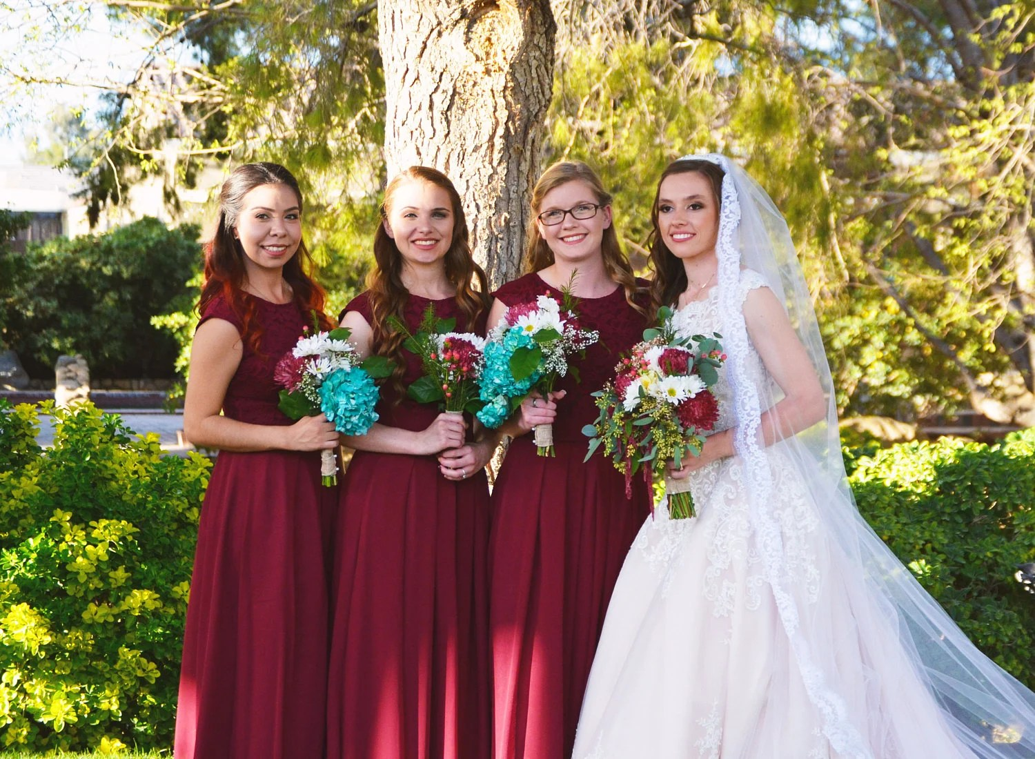 Long Burgundy Bridesmaid Dress With Cap Sleeves. Modest