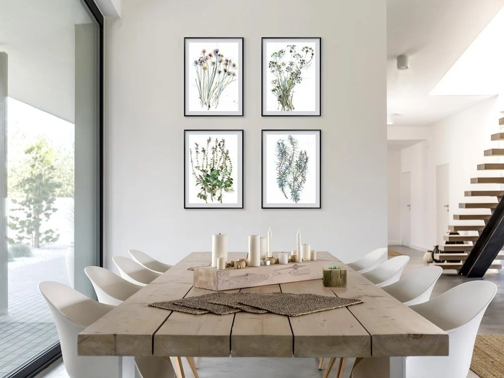 living room art wall tall side tables dining etsy flower drawing set of 4 prints botanical watercolor gallery print wild bright