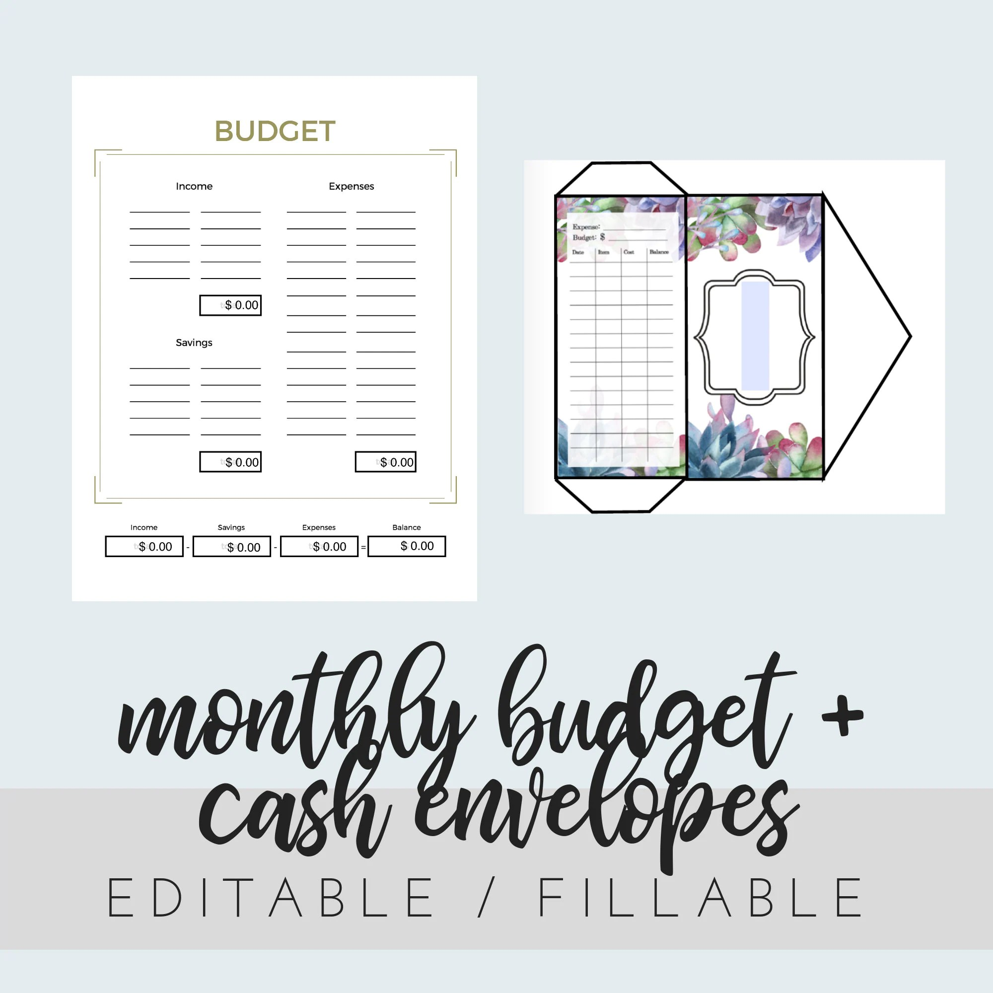 Editable Fillable Monthly Budget Printable And Diy