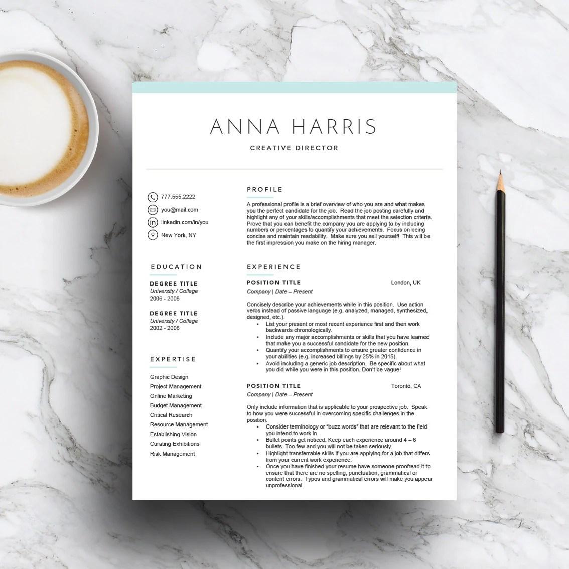 Resume template mac | Etsy