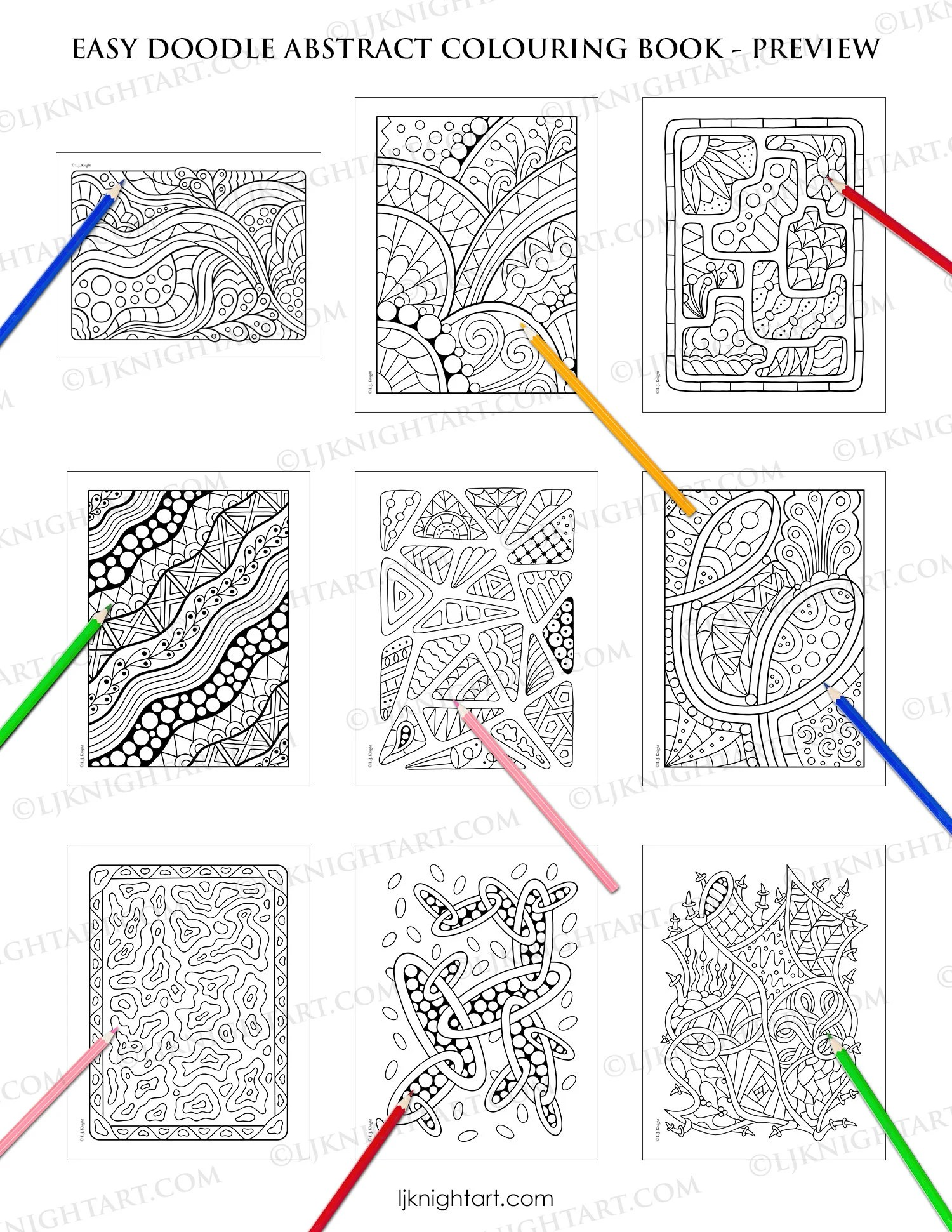 Easy Doodle Abstract Printable Colouring Book 30 Simple