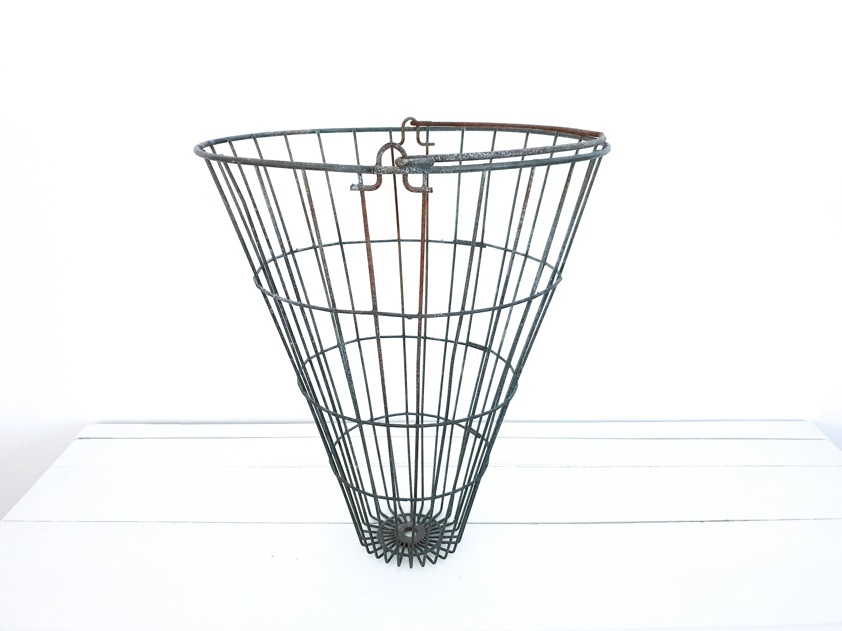 Old metal wire basket with handle • industrial iron wire