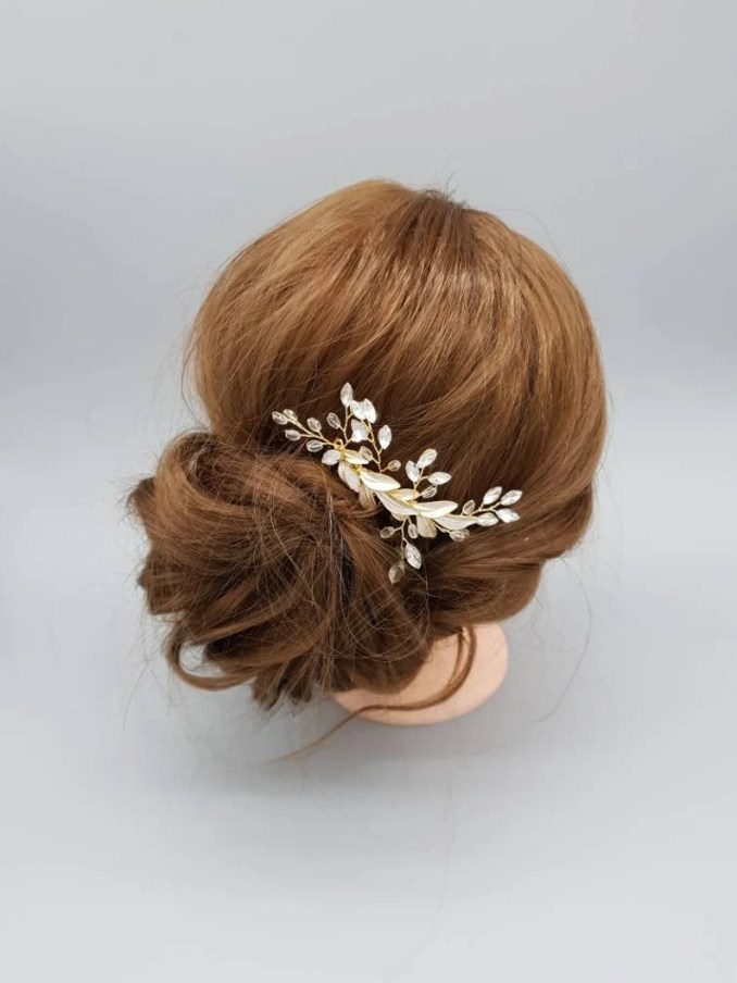 gold bridal hair comb-wedding hairpieces-gold bridal hair accessories-bridal headpieces-gold wedding hsor accessories-hair jewelry