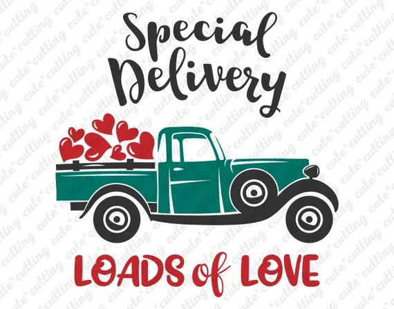 Download Valentines truck svg Loads of love svg with heart   Etsy