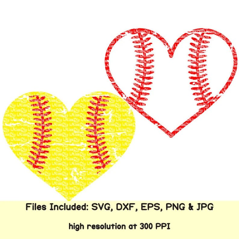 Download Distressed Love Softball svg Baseball svg heart cheer mom ...
