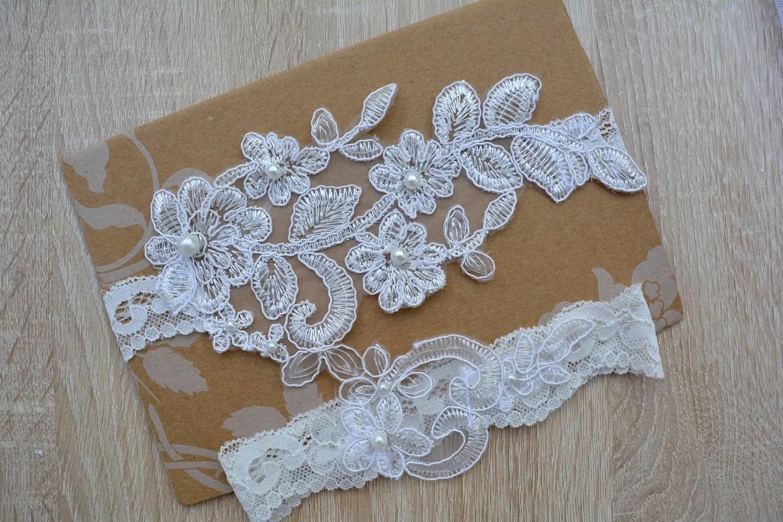 Off White Garter Wedding Garter Bridal Garter Set Garter