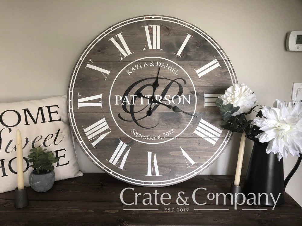Huge Wall Clock ~ Personalized Clock ~ Monogrammed Initial Plaque ~ Oversized Round Wall Clock ~ Shabby Chic Home Decor ~ Wedding Gifts