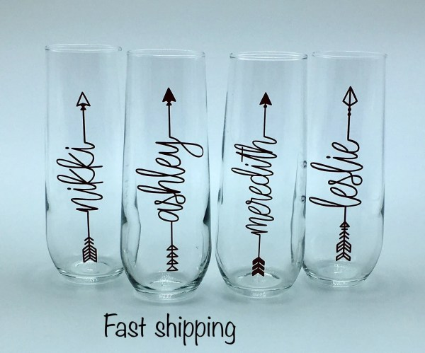 Personalized Stemless Champagne Flutes Bridesmaid