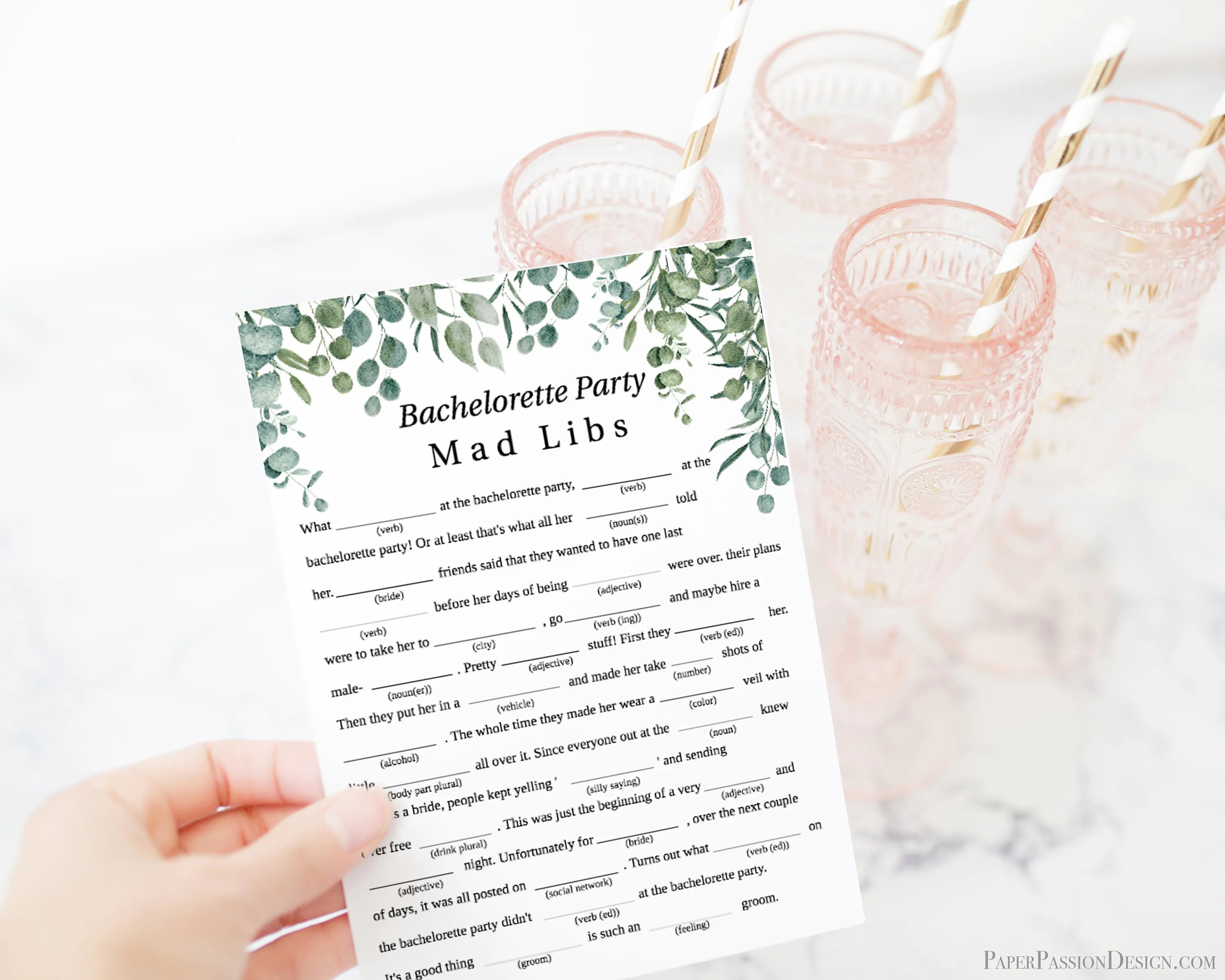 Greenery Wedding Bachelorette Party Mad Libs Template