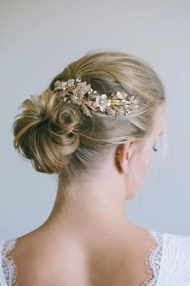 bridal headpiece, gold hair clips, bridal hair clips, bridal hair comb, gold hair vine, gold headpiece, leaf hair vine, flower hair vine