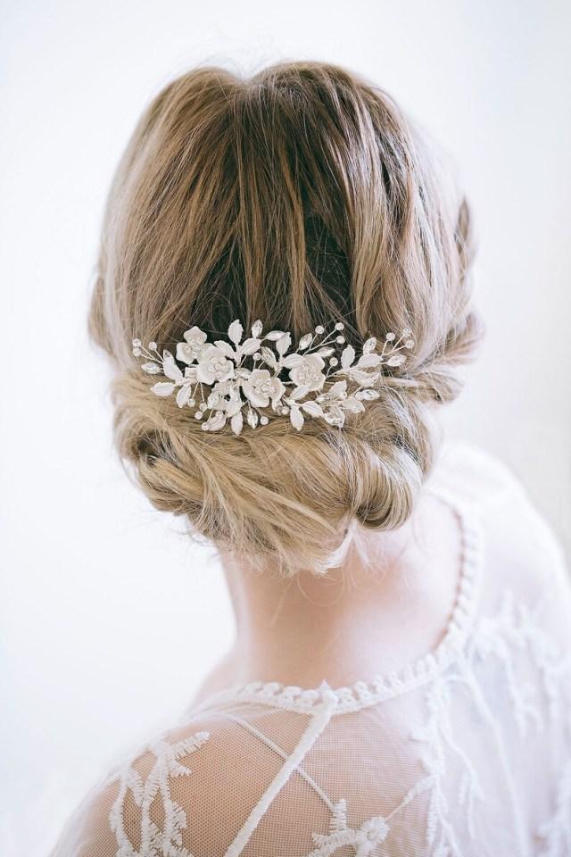 bridal hair clip, rose gold hair clip, flower hair clip, bridal side clip, bridal flower comb, bridal hair accessories
