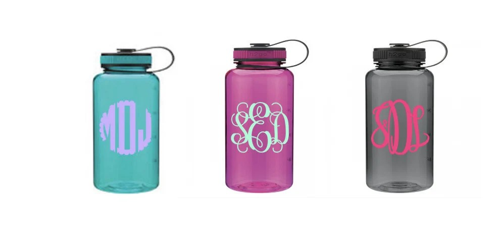 monogram water bottle wide