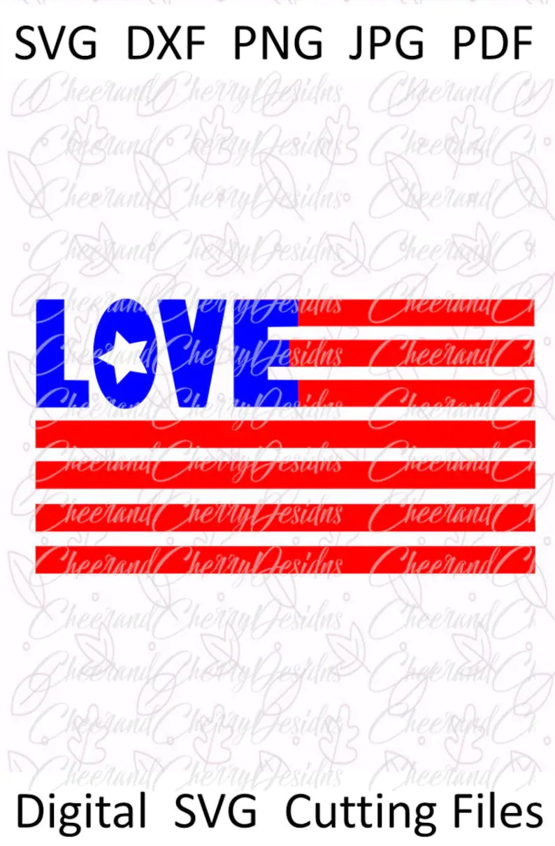Download Love USA flag Svg Dxf Jpeg for Silhouette Cricut Iron On ...