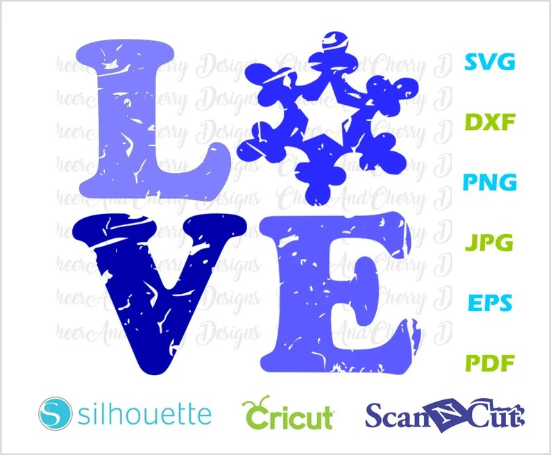 Download Distressed Love Snowflake SVG Christmas LOVE svg file for ...