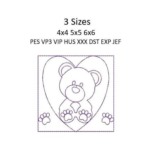 Teddy Bear Embroidery ITH Quilt Quilting Block Bear