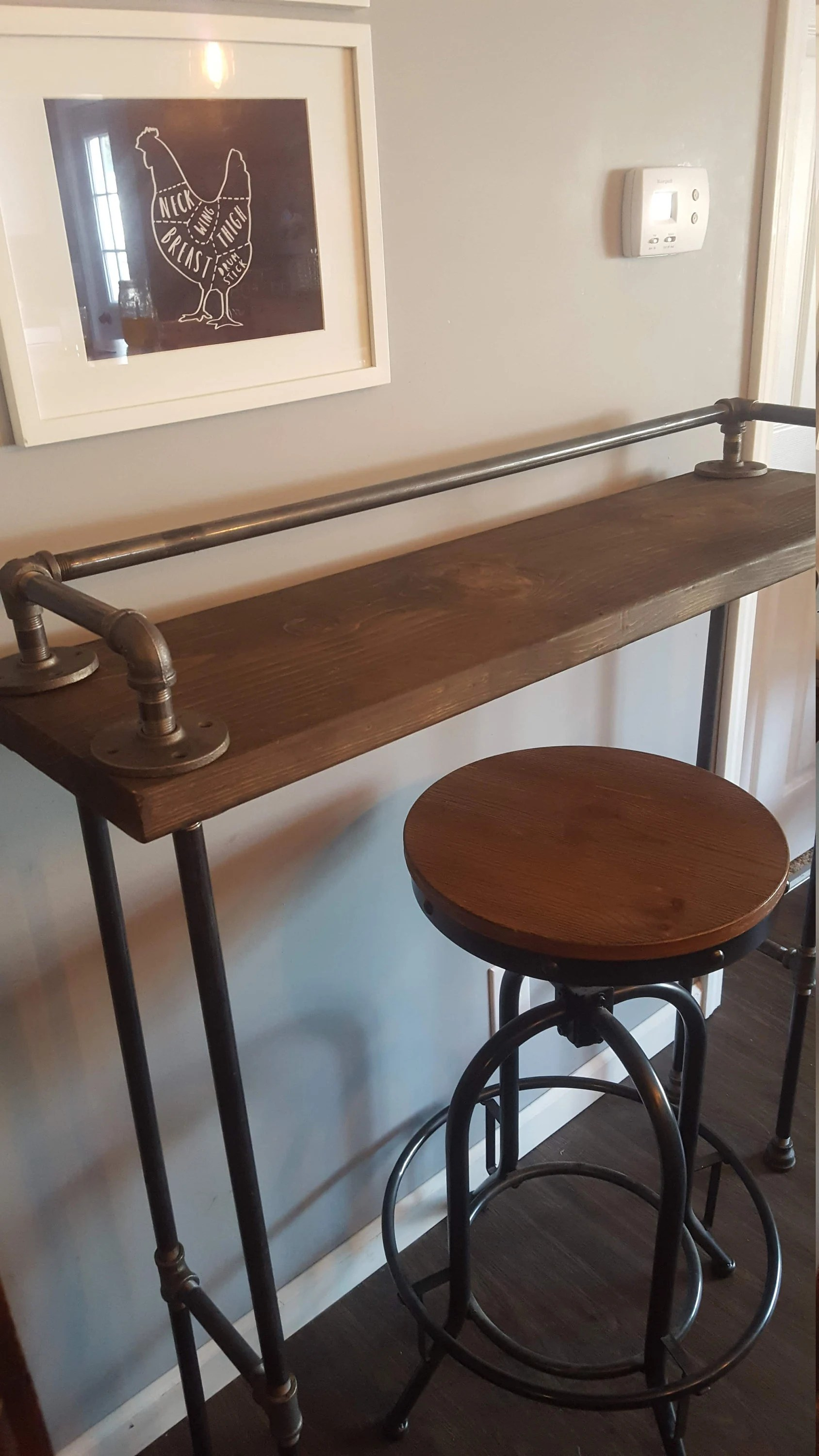 behind the sofa table how to repair small hole in leather etsy bar wood buffet reclaimed accent long entry hall couch