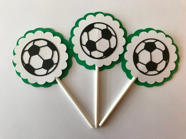 Soccer Cupcake Toppers Birthday Party Decor