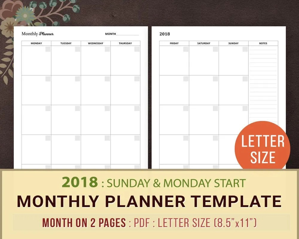 2018 Monthly Planner Template Printable Planner Inserts A4