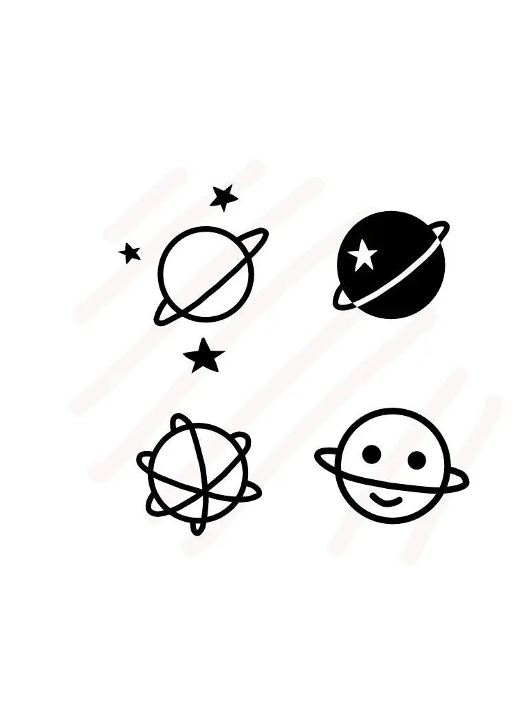 Four Saturn with stars and smile face Hand Drawing Vector