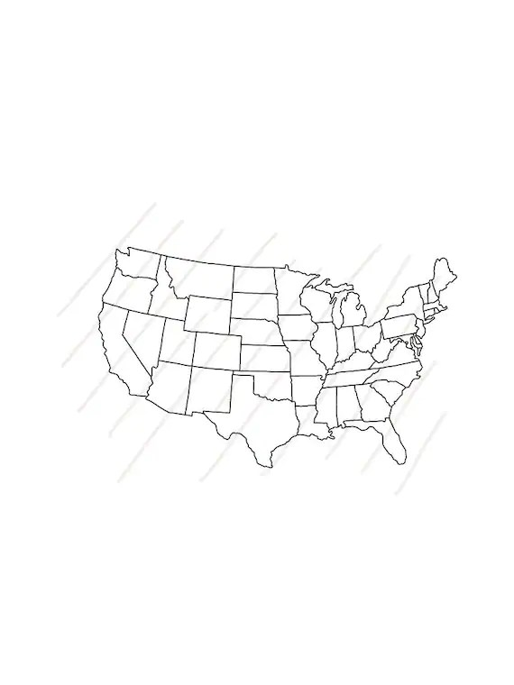 United States Drawing : united, states, drawing, Outline, Drawing, Style