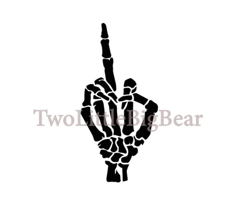 Download SVG/JPG A hand showing the middle finger Black and White ...