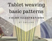 Tablet weaving patterns, basic chart to create colorful belts and decorative hem for medieval dresses, immediate download pdf patterns