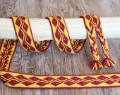 Tablet woven binder red and yellow leaves, medieval trimmings, fabric belt for historical costumes, wool belt accessory for history clothes