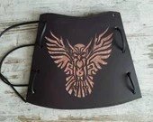 brown leather armguard for archery, high cuff for archer and cosplay, fantasy archery, medieval bowman equipment, owl design leather carving