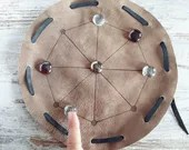 Rota portable game with leather bag and glass pawns, ancient roman table game, Christmas gift idea for children and adults, historical games