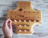 Fox and geese wooden board game, antique Nordic game for two players, Halatafl game