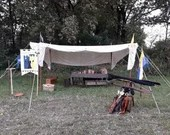 Large velarium for medieval camp with tie-rods, camp accessories for medieval festivals