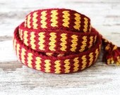 wool belt red and yellow, Ladies viking belt, Medieval clothing, costume accessory, reenactment belt