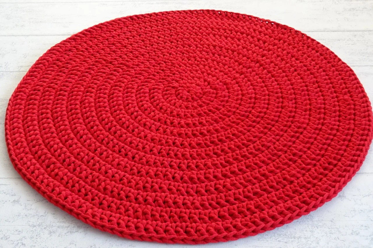 Red Bathroom Rug Red Crochet Round Rug Red Nursery Decor For Boys And Girls Nursery Decor Red Bathroom Rugs Round Rug For Under Christmas Tree Carpet