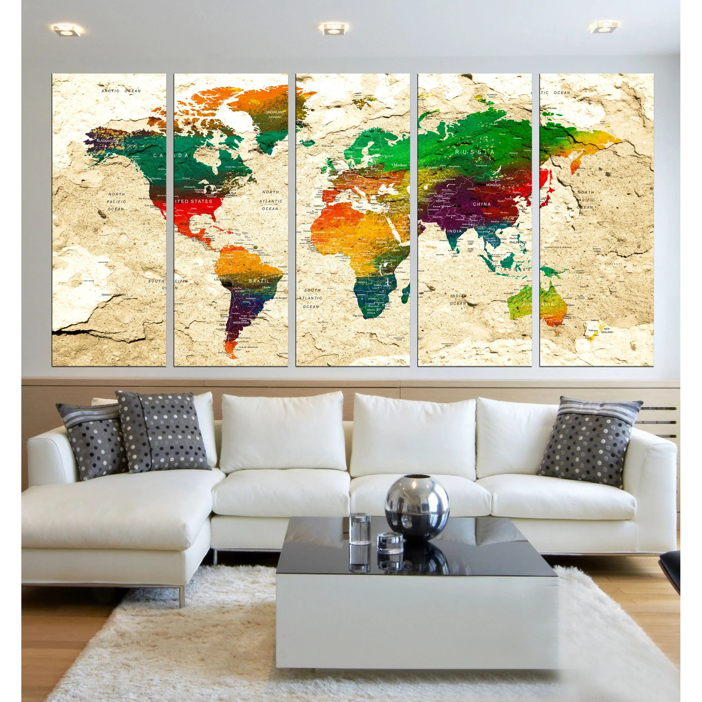 Canvas World Map Push Pin Wall Art 5 Panel World Travel Map World Map For Kids Room World Map Wall Decal Extra Large Wall Art Hr91