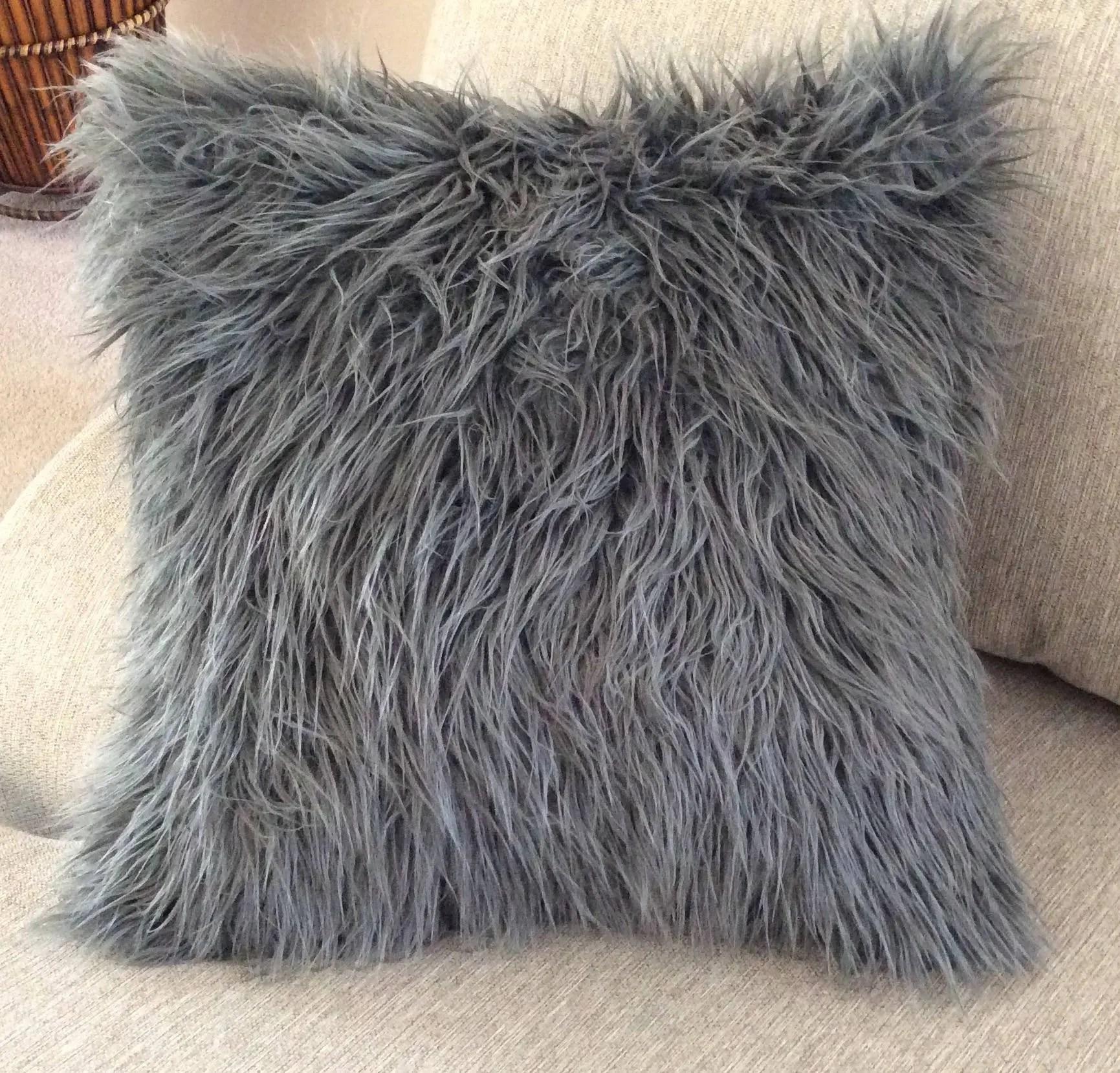 fur pillow gray fur pillow charcoal grey faux fur pillow pillow covers grey cushion covers fur 18x18 pillow gray fur pillow galorie