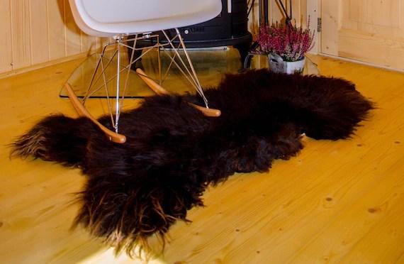animal skin chair covers rocking chairs at big lots large sheepskin rug brown fur etsy image 0