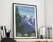 Tour du Mont Blanc Art Print - Tour du Mont Blanc Poster, TMB Print, TMB Poster, Chamonix, Courmayeur