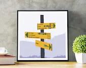 Tour du Mont Blanc Poster - Find Your Way - Tour du Mont Blanc print, Chamonix, Alps, Trail sign, Gift