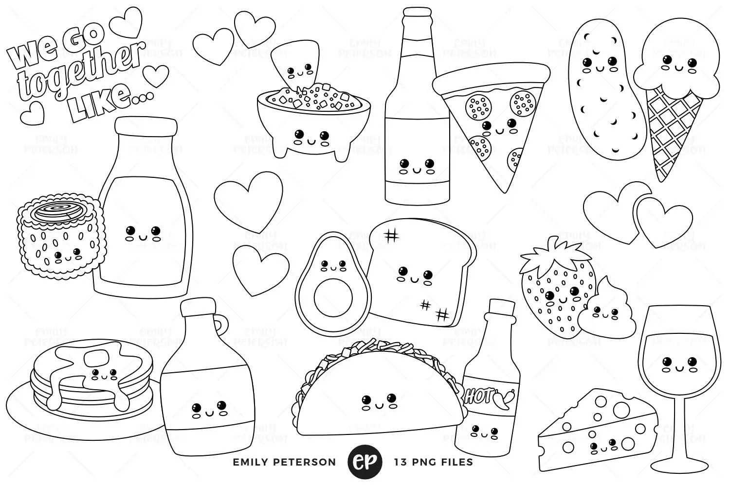 Food Pairs Digital Stamps Perfect Pair Line Art Kawaii Clip