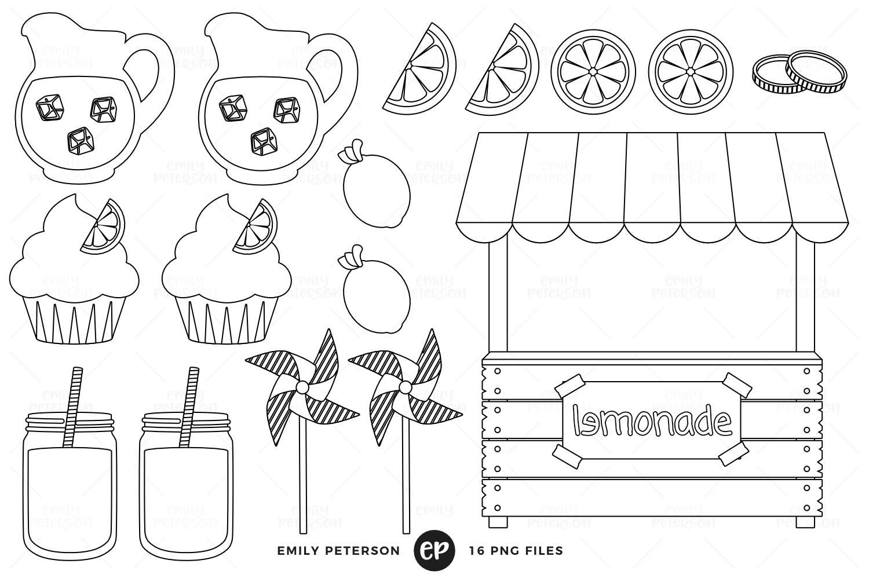 Lemonade Digital Stamps Stand Line Art Fruit Clip Art