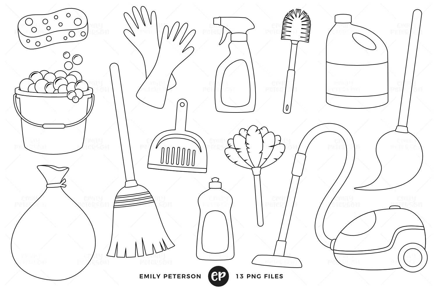 Spring Cleaning Digital Stamps Chores Line Art Housework