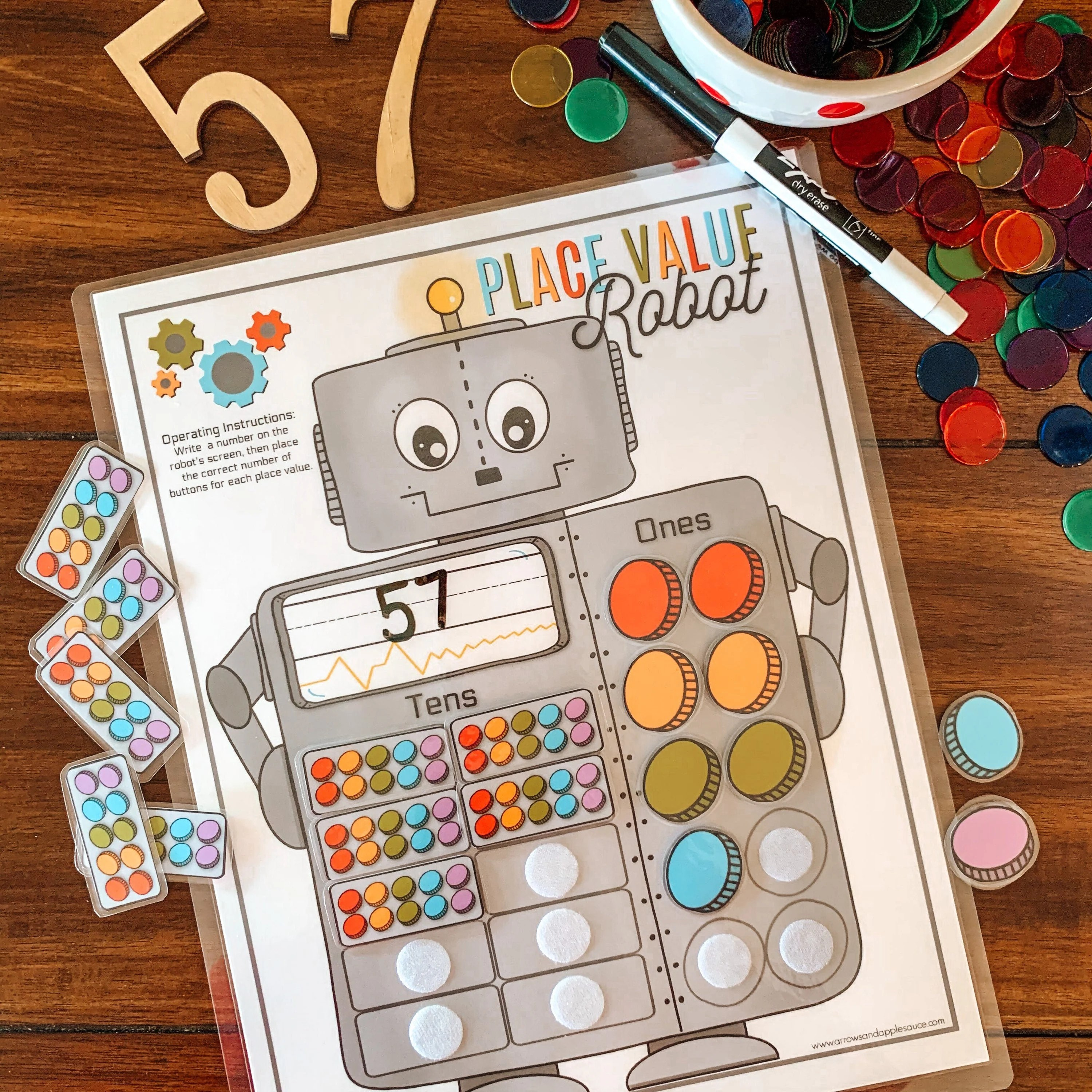 Place Value Counting Activity Printable Kids Robot Math